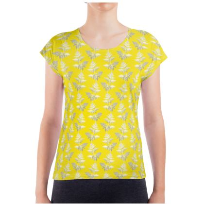 Forest Fern Ladies T Shirt in Bright Yellow