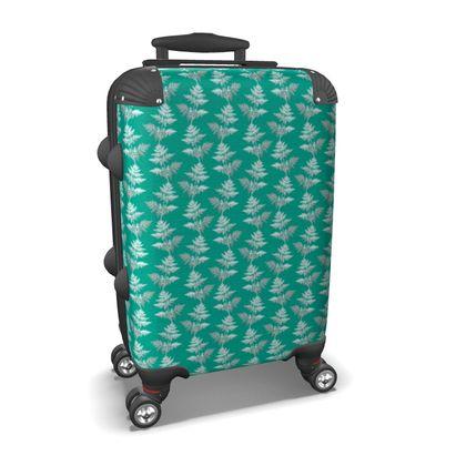 Forest Fern Suitcase in Jade Green