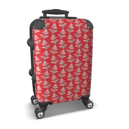 Forest Fern Suitcase in Regal Red