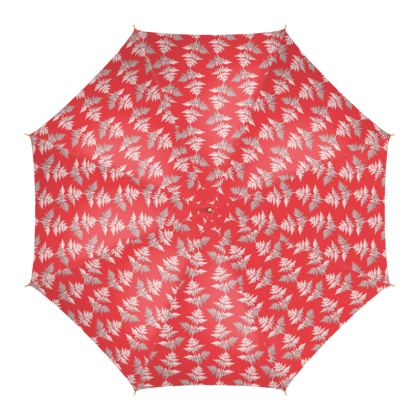 Forest Fern Umbrella in Regal Red