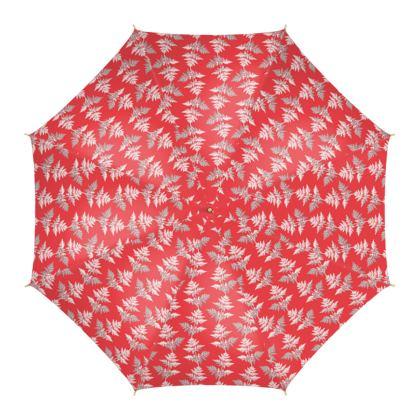 Forest Fern Umbrella in Regal Red