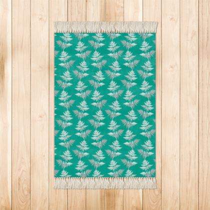 Forest Fern Rugs in Jade Green