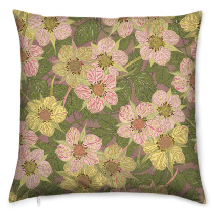 Strawberry Flowers (Natural) Cushion