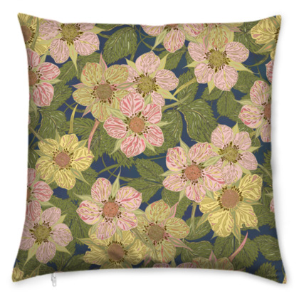 Strawberry Flowers (Dark) Cushion