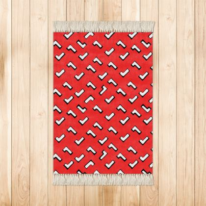 Cartoon Kid Rugs in Tomato Red