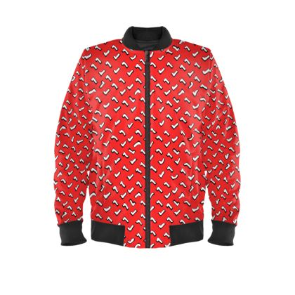 Cartoon Kid Ladies Bomber Jacket in Tomato Red
