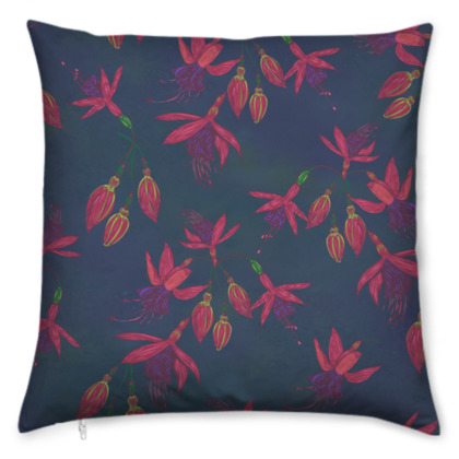 Fabulously Fuchsias (Dark) Cushion