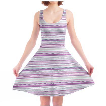 Skater Dress - mint and lavender