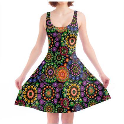 Skater Dress - colorful folk motif mandalas