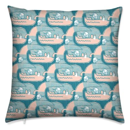 """Cushions """"See you later, Alligator!"""" / pink/teal"""