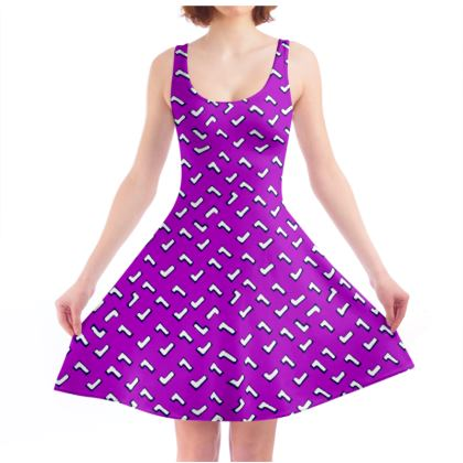 Cartoon Kid Skater Dress in Purple