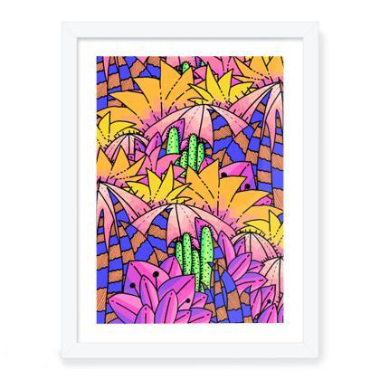 Tropical cactus framed art print