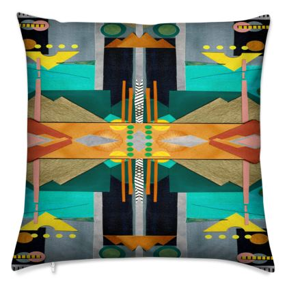 AZTEC II Velvet Cushion With Contrasting Side