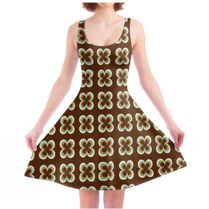 Skater Dress - retro brown circles