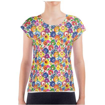 Ladies T Shirt - summer flowers (folk)