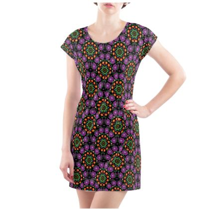 Ladies Tunic T Shirt - purple mandalas