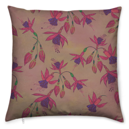 Fabulously Fuchsias (Natural) Cushion