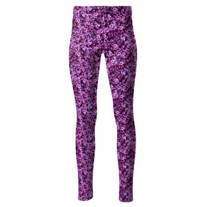 High waisted dark pink floral leggings