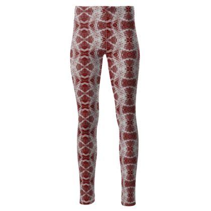High waisted red Gaudi leggings