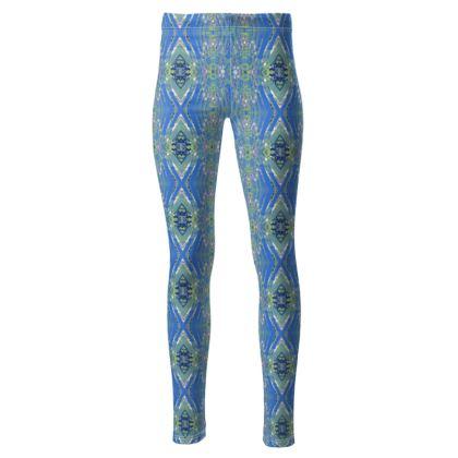 High waisted blue Gaudi leggings