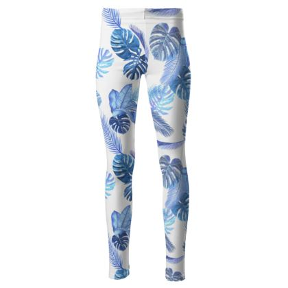High waisted blue tropical print leggings