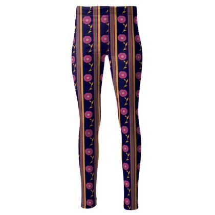 Floral stripes leggings