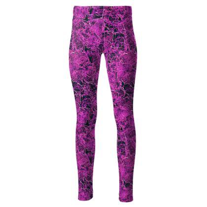 High waisted dark pink leggings