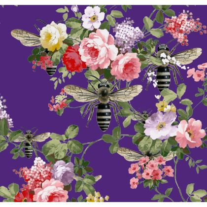 Purple Flora and Bees Double Deckchair