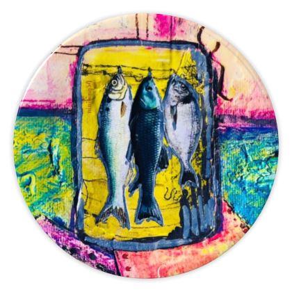 "€69,00 ninibing34 DESIGN Keramik Teller ""BIG FISH BLUE"""