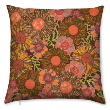 A Daisy Day (Autumn Orange) Cushion