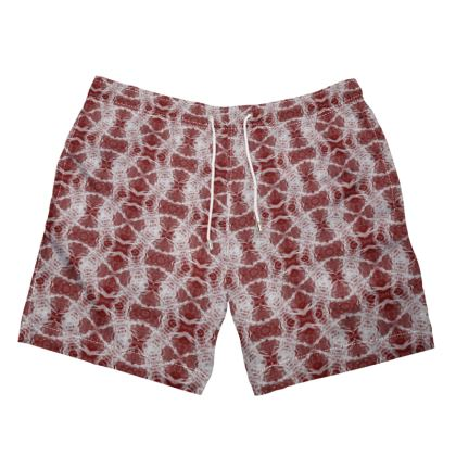 Mens Swimming Trunks red and white Gaudi print