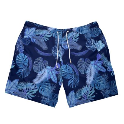 Mens Swimming Trunks navy tropical print