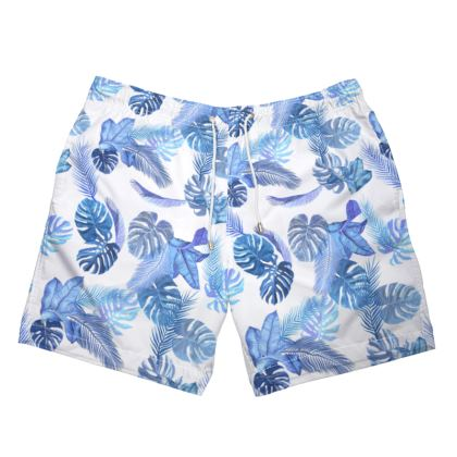 Mens Swimming Trunks blue tropical print