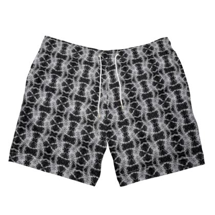 Mens Swimming Trunks black and white Gaudi print