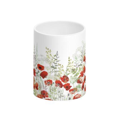 Poppy Field Tall Bone China Mug