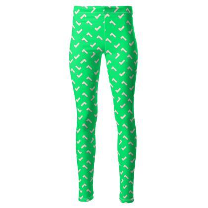 Cartoon Kid High Waisted Leggings in Summer Green