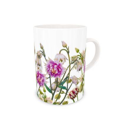 Tall Bone China Mug - Aquilegia