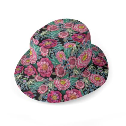 Burgundy Floral hat in oilcloth or cotton