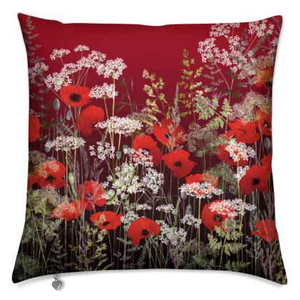 Poppy Field at Sunset Cushion