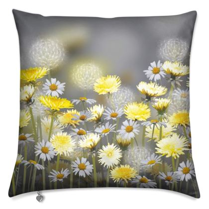 Dandelion and Daisy Meadow Cushion