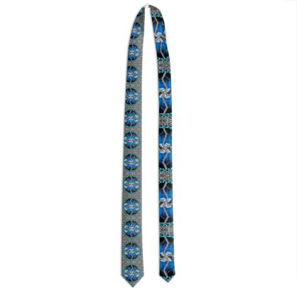 102,- #ninibing34 small Tie, DESIGNER Krawatte blue water AUSTRIA
