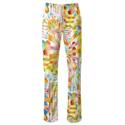 Art Deco Fireworks Womens Trousers