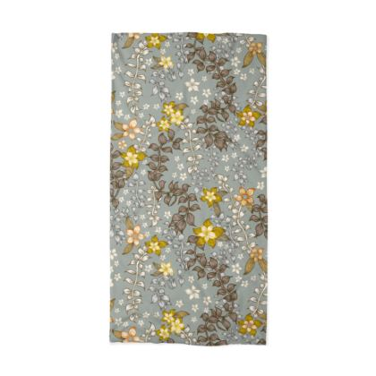 Neck Tube Scarf - Flower Of Happiness (Blue)