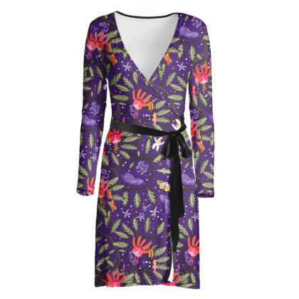 Love Flowers Purple wrap dress