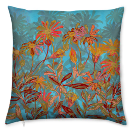 Fantasy Fall Flowers Cushion