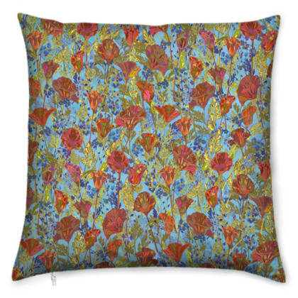Poppy Pattern (Pale Blue) Cushion