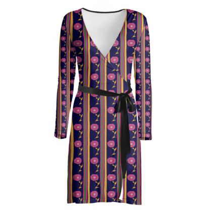 Pink flower and stripes wrap dress