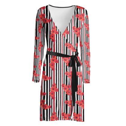 Red flower wrap dress