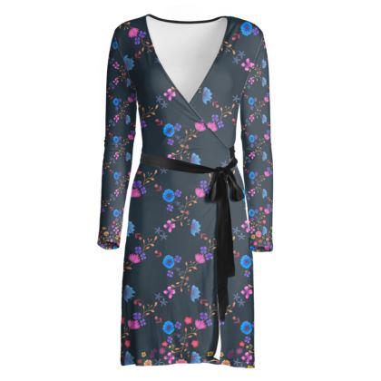 Floral Check wrap dress