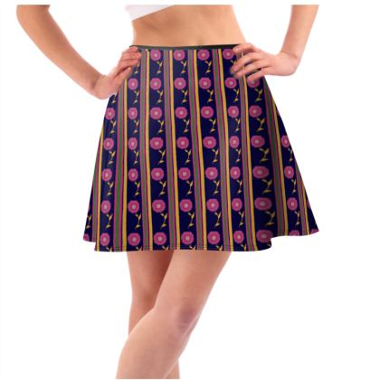 Stripes and pink flower Skirt